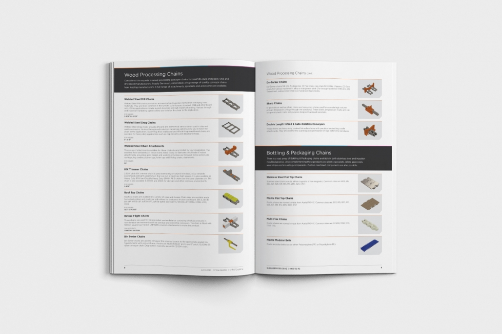 An inside look at our chain and sprockets brochure for NZ industry